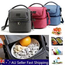 Daul Compartment Insulated Lunch Bag Cooler Lunch Box Tote School Work Picnic AU