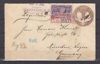 """USA - 1893, 6 C. 'Kolumbus"""" auf R-Brief violetter Orts-L2 'Wahpeton MD' München."""
