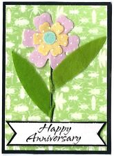 FLOWER SPECIAL DAY Anniversary Greeting Card - Handmade A2 Size PINK GREEN Poem