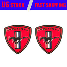 2x Red Pony Horse Car LH&RH Fender Emblem Nameplate for Mustang GT Shelby GT350