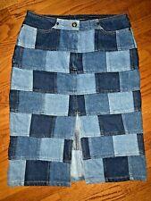 Vintage D'Mode Classix for J Crew Denim Patch Work Checker Board Skirt Women's S