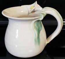 Hand Thrown Pottery Mug Figural Calla Lily Signed Priscilla