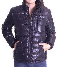 S J. Crew Shiny Matte Black Full Zip Front 100% Nylon Lightweight Quilted Jacket