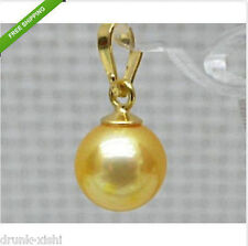 perfect AAA+++ 10-11mm round golden south sea pearl pendant 14k gold