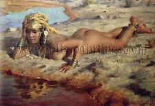 DINET Etienne by the wadi artiste tableau huile sur toile peinture a la main art
