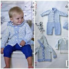 KNITTING PATTERN Babys Hoodie Jacket Jumper Hat All-in-One DK KingCole 5332