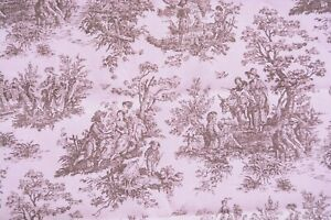 2 yards pale pink toile-style print old time outdoor activities French Country