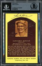 Sandy Koufax Autographed Signed HOF Plaque Postcard Dodgers Beckett 12059794