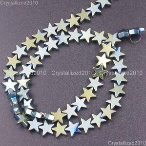 "Natural Hematite Gemstone Flat Star Beads 6mm 8mm 10mm Black Silver Gold 16"""
