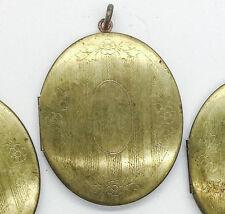 """5 Huge vtg Locket 2"""" brass gold Oval etched Large Nouveau Deco style nos 1980s"""