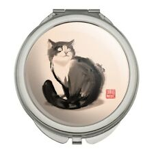 Cat Traditional Chinese Ink Painting Compact Travel Purse Handbag Makeup Mirror