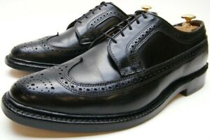 MEN ALLEN EDMONDS MACNEIL BLK LONG WING TIP BROGUE OXFORD DRESS SHOES 10.5~1/2 D