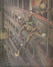 K0962 Ladro colto in flagrante all'interno di un teatro spagnolo_Stampa antica