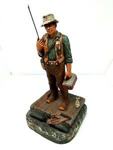 Vintage 1993 Michael Garman Gone Fishin Fishing Figurine Sculpture  Chips On Hat