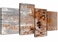 Large Burnt Orange Grey Painting Abstract Living Room Canvas - 4415 - 130cm