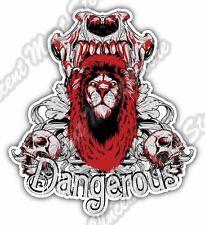 "Dangerous Lion Skull Animal Gift Idea Car Bumper Vinyl Sticker Decal 4""X5"""