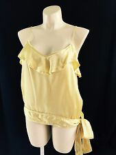 Banana Republic womens size XL butter yellow 100% silk ruffle side tie tank top