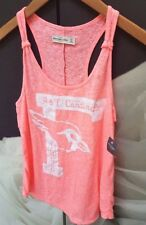 ABERCROMBIE & FITCH NEON CORAL PINK CARDINALS GRAPHIC TANK VEST TEE TOP XS!