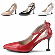 Womens Pumps Faux Leather Pointy Toe Stiltttos Heels Party Shoes Ankle Buckle