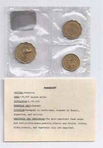 1950-1953 PARAGUAY - EXPO'70 MINT BU SET (3) - 1,10,15 CENTIMOS - SEALED w/ COA