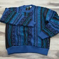Vintage Sweater Abstract Colorful Cosby Texture 3D Biggie Size Large L USA Made
