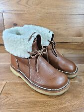Duckfeet Arhus Unisex Wool-Lined Brown Pebbled Leather Boots Size 39, US 8.5/9