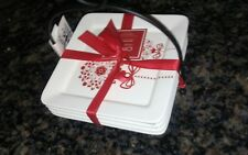Ciroa Set of 4 Square Appetizer Plates in Wire Stand - Wrapped in Ribbon  new