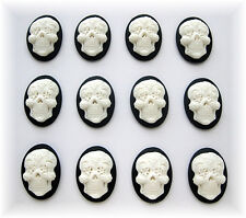 12 Goth Emo Day of Dead WHITE color SUGAR SKULL on BLACK 25mm x 18mm CAMEOS LOT
