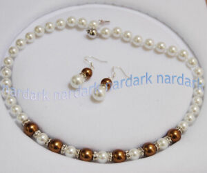 """8-10mm South Sea Shell Pearl Round Beads Necklace Earrings Set AAA Long 14-24"""""""