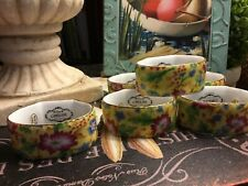 "(6) Two's Company-""Caroline""-Yellow Floral Chintz-Porcelain-Napkin Holders-NICE!"