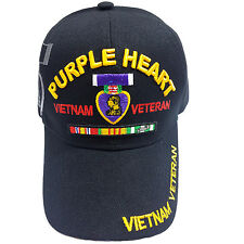 US Military Purple Heart Vietnam Veteran Black Hat Cap