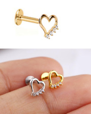 Hollow Heart One SidedTragus Helix Cartilage Ear Ring Piercing Body Labret Stud