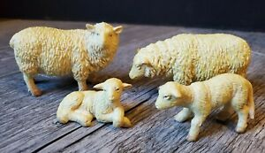 """Bullyland Plastic Sheep & Lamb Figures Lot Vintage4"""" Made in Germany"""