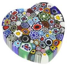 GlassOfVenice Murano Glass Millefiori Heart paperweight - Large