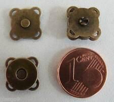 2 FERMOIRS AIMANT MAGNETIQUE plat carré 11mm à coudre pour sacs rabats bronze
