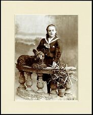 SKYE TERRIER GIRL AND DOG OLD STYLE PHOTO IMAGE PRINT MOUNTED READY TO FRAME