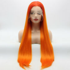 Meiyite Hair Straight Extra Long 28inch Two Tone Orange Ombre Lace Front Wigs
