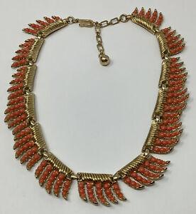 "Trifari Gold-tone Coral Colored Bead Necklace 15"" (B)"