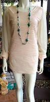 Elegantes Designer Fashion Mini Sommer Kleid Dress Wrap Beige/Creme Gr.S/36-38