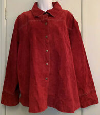 Live a Little Genuine Suede Leather Rust Lined Cross Stitched Jacket Plus Sz 3X