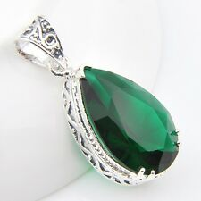 Xmas Jewelry Gift Emerald Topaz Gemstone Silver Necklace Pendant 48 Cts  2 Inch