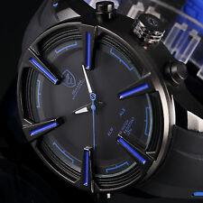Shark Men's Quartz LED Digital Date Day Rubber Black Blue Sport Army Wrist Watch