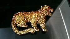 "Brosche ""Leopard"" Messing antik vergoldet Kristalle Leopard"