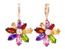 Genuine rainbow flower earrings rose gold plated different colored marquise box