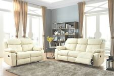 Cream High Grade Leather 3 Seater + 2 Seater Reclining Recliner Suite CHICAGO