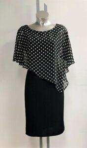 Stunning Black White Polka Dot  Overlay Layer Dip Hem Dress Size 10 - 18