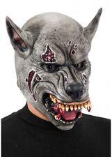 gris loup-garou Masque Halloween Déguisement zombie chien No cheveux Loup latex
