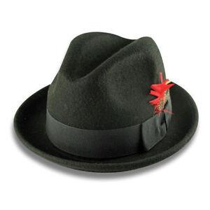 New Men 's 100% Wool Fedora Trilby Hat Style LH-1 Size S M L XL