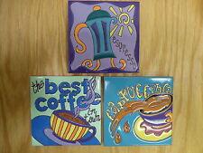 Ceramic Art Tile 6x6 3pc Set Coffee Espresso Cappucino colorfull kitchen set B53