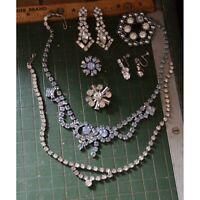 vintage clear & blue rhinestone necklace brooch pin earrings lot set